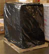 "Picture of 51"" x 49"" x 85"" x 3.0mil Black Low Density Polyethylene Pallet Cover with UVI Additive"