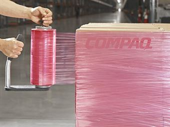 """Picture of 18"""" x 80ga x 1500' on 3"""" Cores PINK Stretch Film"""