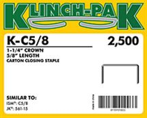 "Picture of  5/8"" C Style Klinch-Pak Stick Staples"