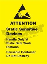 "Picture of Anti Static Label  1-3/4"" x 2-1/2""  DL9140 B"