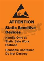"Picture of Anti Static Label  1-3/4"" x 2-1/2""  DL9141 B (Removable)"